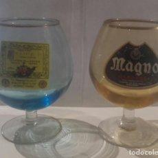 Coleccionismo de vinos y licores: 2 COPAS BRANDY MAGNO Y FELIPE II ANTIGUAS. Lote 140114138