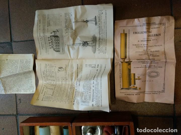 Coleccionismo de vinos y licores: EBULLOMETRO, DESIMENTRO, ALCOHOLÍMETRO MERCURIO. ENOLOGIA VINO. DUJARDIN SALLERON - PARIS. - Foto 6 - 141780746
