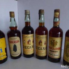 Coleccionismo de vinos y licores: SEIS BOTELLAS DE LITRO DE BRANDY DE VARIAS MARCAS. Lote 147572862