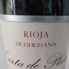 Coleccionismo de vinos y licores: CARTA DE PLATA 1970 - RIOJA - BOTELLA VINO 75CL. Lote 147999198