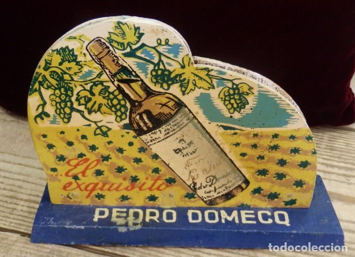 Coleccionismo de vinos y licores: ANTIGUO SERVILLETERO MADERA, PUBLICIDAD FUNDADOR PEDRO DOMECQ , FINO LA INA , ORIGINAL - Foto 2 - 157691094