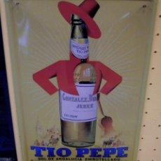 Coleccionismo de vinos y licores: TIO PEPE ***GONZALEX BYASS JEREZ***(CARTEL METALICO) . Lote 163335450