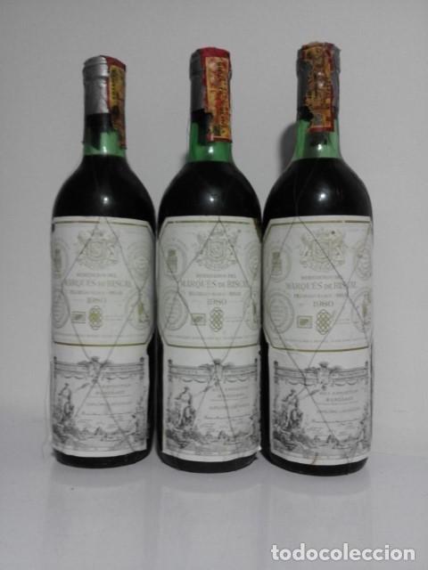 LOTE 3 BOTELLAS MARQUES DE RISCAL CRIANZA 1980 (Coleccionismo - Botellas y Bebidas - Vinos, Licores y Aguardientes)