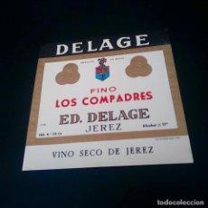 Coleccionismo de vinos y licores: ETIQUETA DE VINO FINO LOS COMPADRES EDUARDO DELAGE JEREZ. Lote 164488990