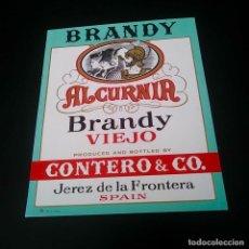 Coleccionismo de vinos y licores: ETIQUETA BRANDY VIEJO ALCURNIA CONTERO Y CO.. Lote 164491774