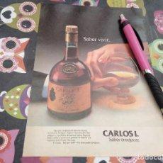 Coleccionismo de vinos y licores: ANTIGUO ANUNCIO PUBLICIDAD 1980 BRANDY CARLOS I PEDRO DOMECQ SOLERA ESPECIAL. Lote 164930546