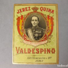 Coleccionismo de vinos y licores: ETIQUETA DE BOTELLA DE JEREZ QUINA VALDESPINO SIN PEGAR.- BUEN ESTADO. Lote 166160210