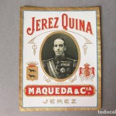 Coleccionismo de vinos y licores: ETIQUETA DE BOTELLA DE JEREZ QUINA MAQUEDA & CIA SIN PEGAR.- JEREZ - BUEN ESTADO. Lote 166160642