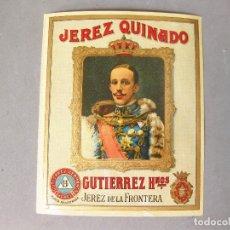 Coleccionismo de vinos y licores: ETIQUETA DE BOTELLA DE JEREZ QUINADO GUTIERREZ HERMANOS SIN PEGAR.- JEREZ - BUEN ESTADO. Lote 166160882