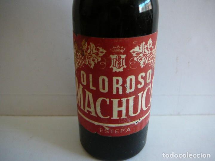 Coleccionismo de vinos y licores: Botellita Oloroso Machuca. Estepa. 16 cm altura. - Foto 2 - 166599994