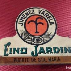 Coleccionismo de vinos y licores: ANTIGUO SERVILLETERO DE FINO JARDIN, JIMENEZ VARELA. PUERTO STA MARÍA CACAO. Lote 167925304