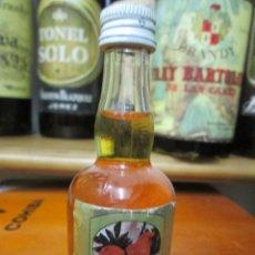 Coleccionismo de vinos y licores: ANTIGUO BOTELLIN BRANDY COÑAC, LICOR DE NARANJA DESTILERIA CAMPENY 11 CM. Lote 169032024