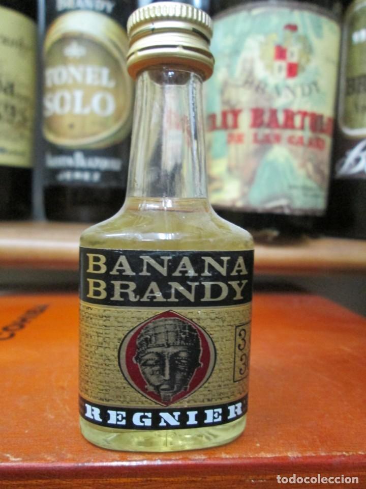 ANTIGUO BOTELLIN BRANDY COÑAC,BANANA BRANDY REGNIER 11 CM (Coleccionismo - Botellas y Bebidas - Vinos, Licores y Aguardientes)