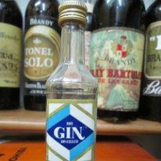 Coleccionismo de vinos y licores: ANTIGUO BOTELLIN BRANDY COÑAC, DRY GIN BARDINET-12 CM. Lote 169032684