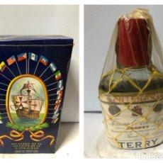 Coleccionismo de vinos y licores: PETACA DE BRANDY CENTERARIO DE TERRY. INCLUYE CAJA, OBSEQUIO DE FERNANDO A. DE TERRY. VER FOTOS. Lote 170246612