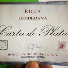 Coleccionismo de vinos y licores: ETIQUETA DE VINO CARTA DE PLATA BERBERANA. Lote 170555708