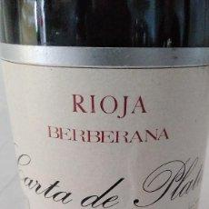 Coleccionismo de vinos y licores: CARTA DE PLATA 1970 - RIOJA - BOTELLA VINO 75CL. Lote 171986518