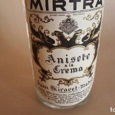 Coleccionismo de vinos y licores: BOTELLA ANISETE *ANÍS* A LA CREMA MIRTRA. JUAN MIRAVET. MADRID. AÑOS 60-70. Lote 173865842