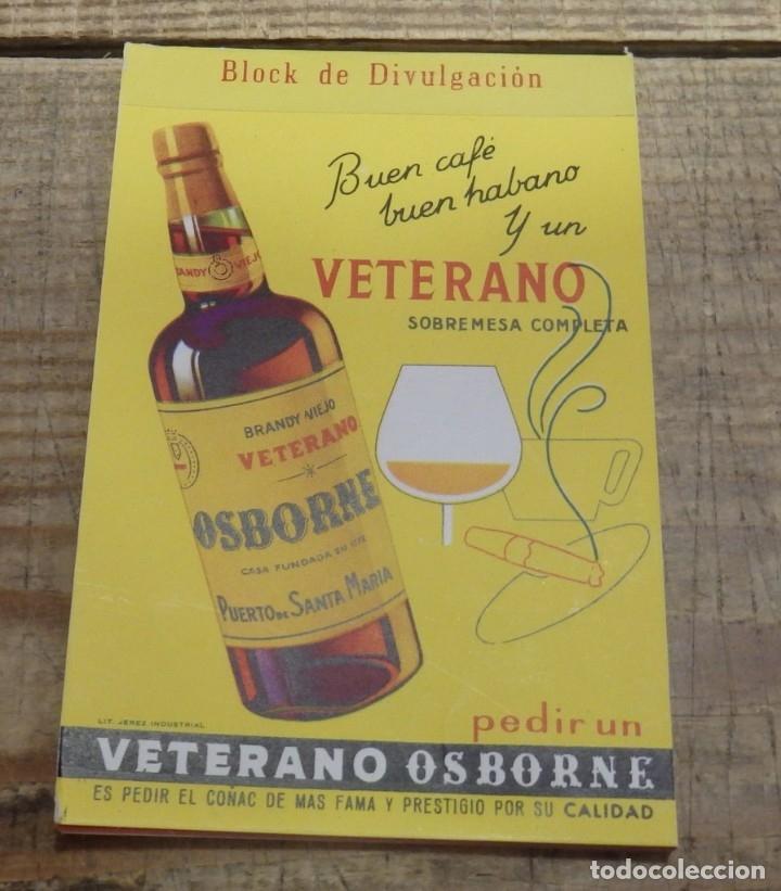 LIBRETA DE CAMARERO CON PUBLICIDAD DE BRANDY VIEJO VETERANO OSBORNE, IMPECABLE (Coleccionismo - Botellas y Bebidas - Vinos, Licores y Aguardientes)