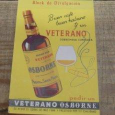 Coleccionismo de vinos y licores: LIBRETA DE CAMARERO CON PUBLICIDAD DE BRANDY VIEJO VETERANO OSBORNE, IMPECABLE. Lote 174142524