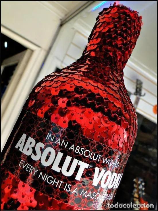ABSOLUT VODKA * MASQUERADE * DISEÑO LUXURY * + 3000 LENTEJUELAS ROJAS *BOTELLA PRECINTADA * (Coleccionismo - Botellas y Bebidas - Vinos, Licores y Aguardientes)