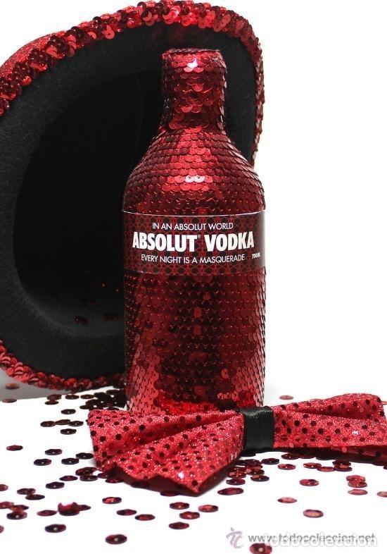 Coleccionismo de vinos y licores: ABSOLUT VODKA * MASQUERADE * DISEÑO LUXURY * + 3000 LENTEJUELAS ROJAS *BOTELLA PRECINTADA * - Foto 4 - 174206364