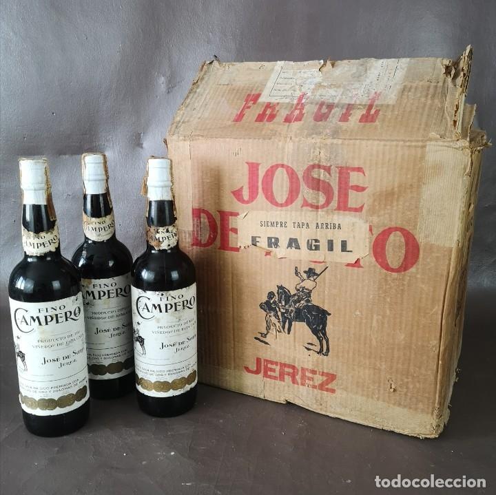 CAJA DE 10 BOTELLAS DE JEREZ JOSE DE SOTO FINO CAMPERO AÑOS 60 SIN ABRIR (Coleccionismo - Botellas y Bebidas - Vinos, Licores y Aguardientes)