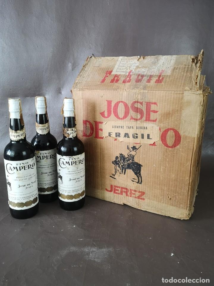 Coleccionismo de vinos y licores: CAJA DE 10 BOTELLAS DE JEREZ JOSE DE SOTO FINO CAMPERO AÑOS 60 SIN ABRIR - Foto 2 - 175901960