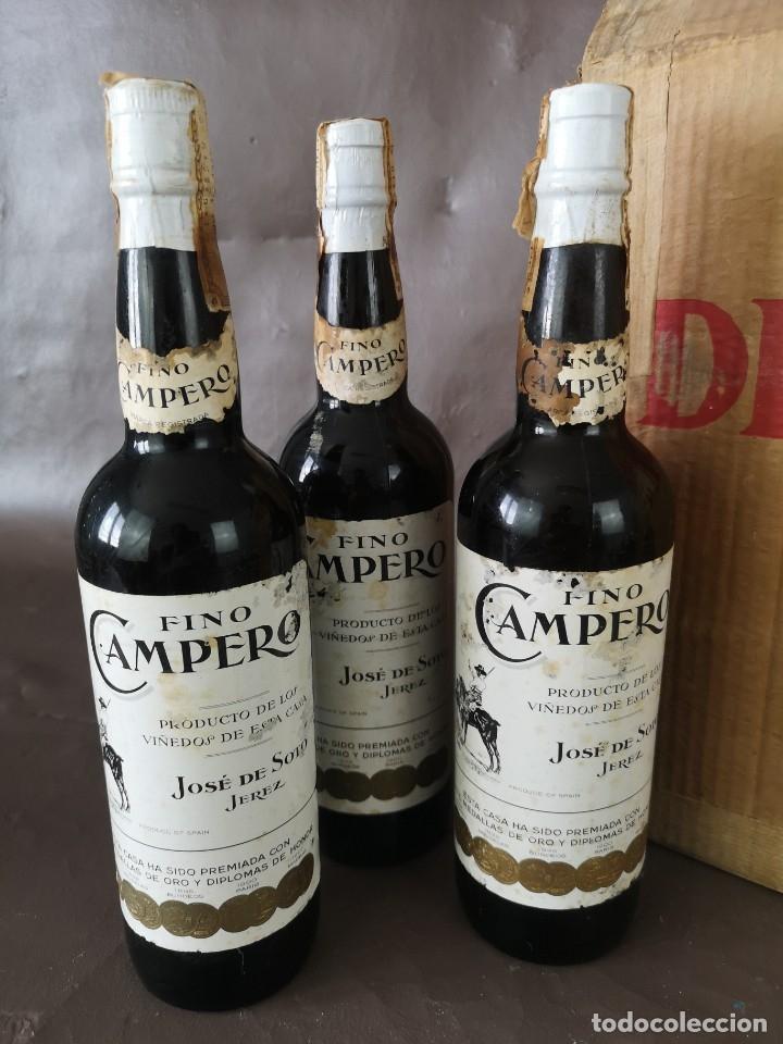 Coleccionismo de vinos y licores: CAJA DE 10 BOTELLAS DE JEREZ JOSE DE SOTO FINO CAMPERO AÑOS 60 SIN ABRIR - Foto 3 - 175901960