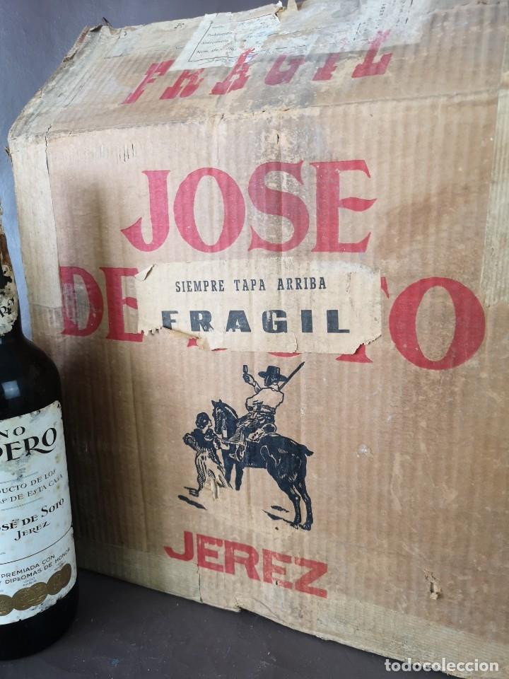 Coleccionismo de vinos y licores: CAJA DE 10 BOTELLAS DE JEREZ JOSE DE SOTO FINO CAMPERO AÑOS 60 SIN ABRIR - Foto 5 - 175901960