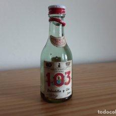 Coleccionismo de vinos y licores: BOTELLÍN MINIATURA BRANDY BOBADILLA 103, VACÍO . Lote 177523857