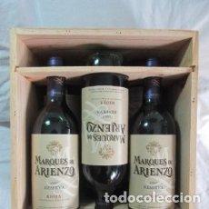 Coleccionismo de vinos y licores: RIOJA, MARQUÉS DE ARIENZO RESERVA 1997 CAJA DE MADERA CON SEIS BOTELLAS DE VINO TINTO. Lote 177618535