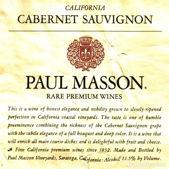 Coleccionismo de vinos y licores: VINO WINE - PAUL MASSON - CALIFORNIA - (USA) - Foto 2 - 176965929