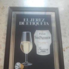 Coleccionismo de vinos y licores: FINO SAN PATRICIO - GARVEY - EL JEREZ DE ETIQUETA - ANTIGUO ESPEJO PUBLICITARIO - IDEAL DECORACIÓN . Lote 180337591