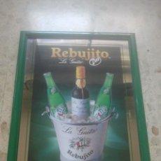 Coleccionismo de vinos y licores: REBUJITO - MANZANILLA LA GUITA - 7UP - ANTIGUO ESPEJO PUBLICITARIO - IDEAL DECORACIÓN BODEGUILLAS . Lote 180346557