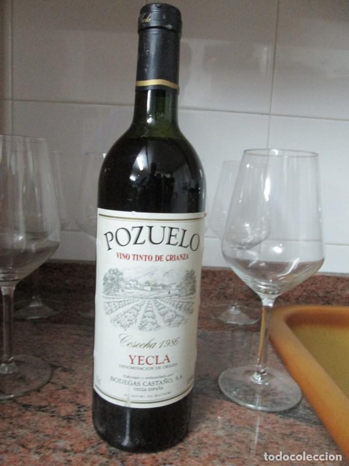 ANTIGUA BOTELLA DE VINO, POZUELO TINTO CRIANZA COSECHA 1986 (Coleccionismo - Botellas y Bebidas - Vinos, Licores y Aguardientes)