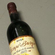 Coleccionismo de vinos y licores: NUMULITE BOTELLA DE VINO CAMPO BURGO TINTO RIOJA COSECHA 1982 ALFARO . Lote 183611400