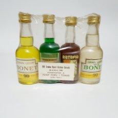 Coleccionismo de vinos y licores: BOTELLITAS LICORES BONET VIII TROFEO SPORT CICLISTA GUIXOLS 24 D' ABRIL 1988 ESTUCHE ANTIGUIO. Lote 184529818