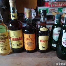 Coleccionismo de vinos y licores: LOTE 6 BOTELLAS. BRANDY SOLERA RESERVADA, WHISKY Y LICOR DE HIERBAS. LAS DE LAS FOTOS.. Lote 185683367