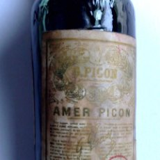 Coleccionismo de vinos y licores: MUY ANTIGUO BOTELLIN,APERITIVO DE AMER PICON (30%) TAPON DE CORCHO,SIN DESPRECINTAR (DESCRIPCIÓN). Lote 188743101