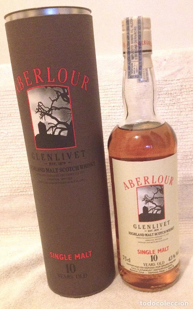 [WHISKY:] ABERLOUR GLENLIVET SINGLE MALT 10 YEAR OLD. CAJA CILÍNDRICA. 75 CL. SIN ABRIR. AÑOS 80. (Coleccionismo - Botellas y Bebidas - Vinos, Licores y Aguardientes)