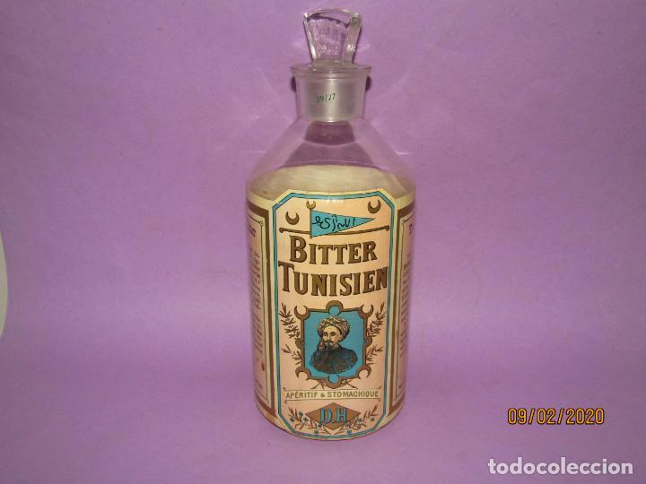 MUY ANTIGUA BOTELLA VACÍA DE BITTER TUNISIEN APERITIVO ESTOMACAL - AÑO 1880S. (Coleccionismo - Botellas y Bebidas - Vinos, Licores y Aguardientes)