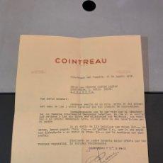Coleccionismo de vinos y licores: LICOR COINTREAU. ( CARTA COMERCIAL ) 1960. VILLAFRANCA DEL PENEDES. Lote 194220370