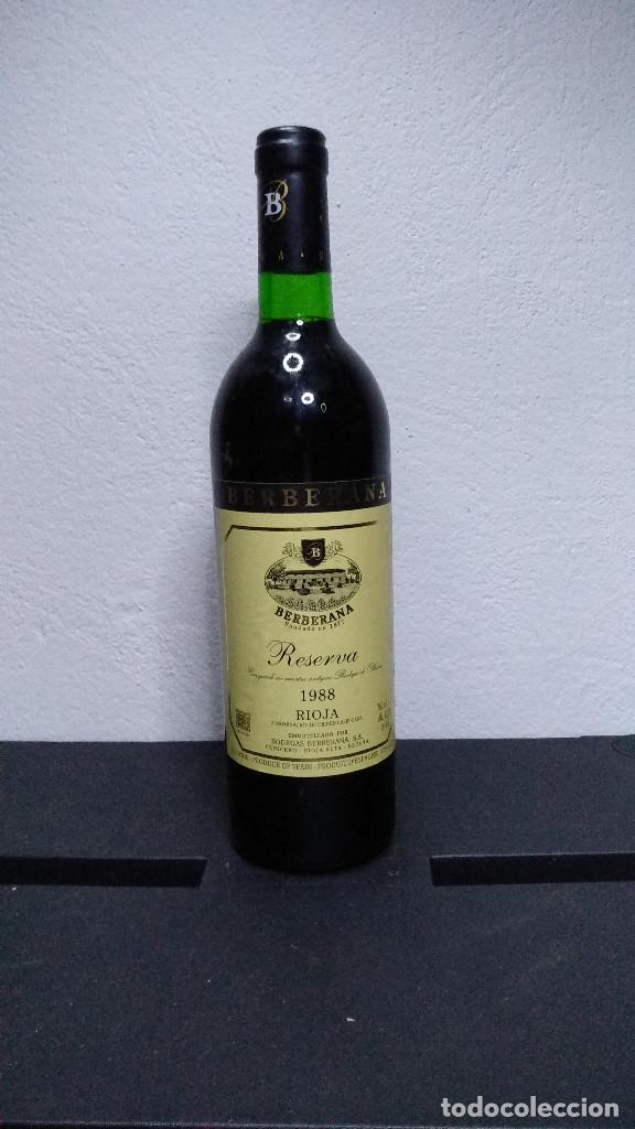BOTELLA VINO RIOJA BERBERANA, RESERVA 1988. (Coleccionismo - Botellas y Bebidas - Vinos, Licores y Aguardientes)