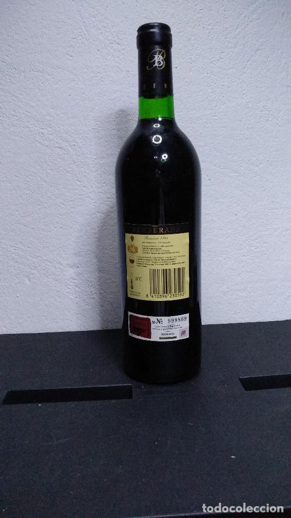 Coleccionismo de vinos y licores: Botella vino Rioja Berberana, Reserva 1988. - Foto 4 - 194233548