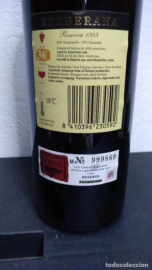 Coleccionismo de vinos y licores: Botella vino Rioja Berberana, Reserva 1988. - Foto 5 - 194233548