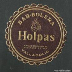 Coleccionismo de vinos y licores: POSAVASO BAR BOLERA HOLPAS VALLADOLID. Lote 194345191
