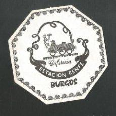 Coleccionismo de vinos y licores: POSAVASO CAFETERIA ESTACION RENFE BURGOS. Lote 194345240
