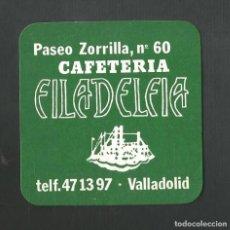 Coleccionismo de vinos y licores: POSAVASO CAFETERIA FILADELFIA VALLADOLID. Lote 194345296