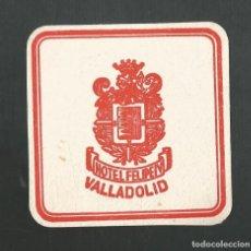 Coleccionismo de vinos y licores: POSAVASO HOTEL FELIPE IV VALLADOLID. Lote 194345335